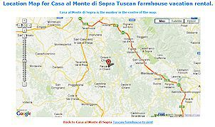 location map casa al monte di sopra