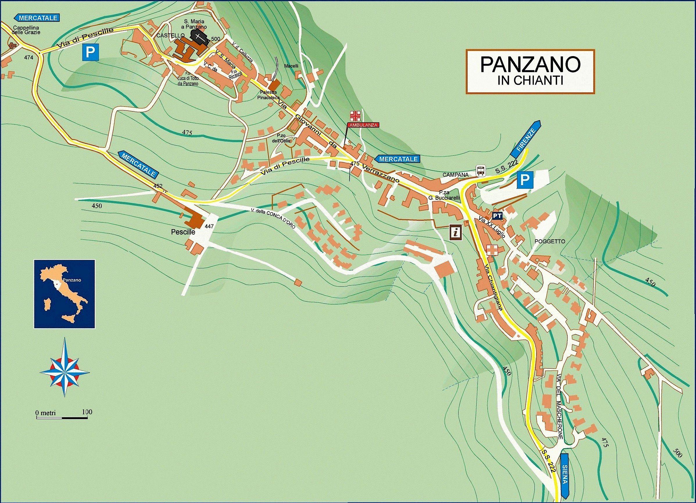 Street map of Panzano in Chianti