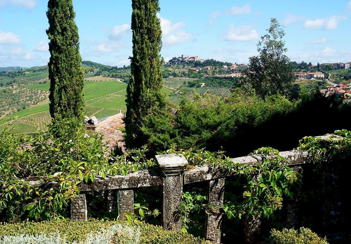 View of Panzano from hotel Villa Le Barone